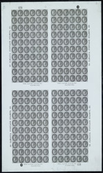 Jamaica: 1860-70 1/-, a  proof sheet in black on blue paper.